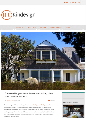 One Kindesign blog post featuring a cozy seaside gambrel house built by JG Early Construction