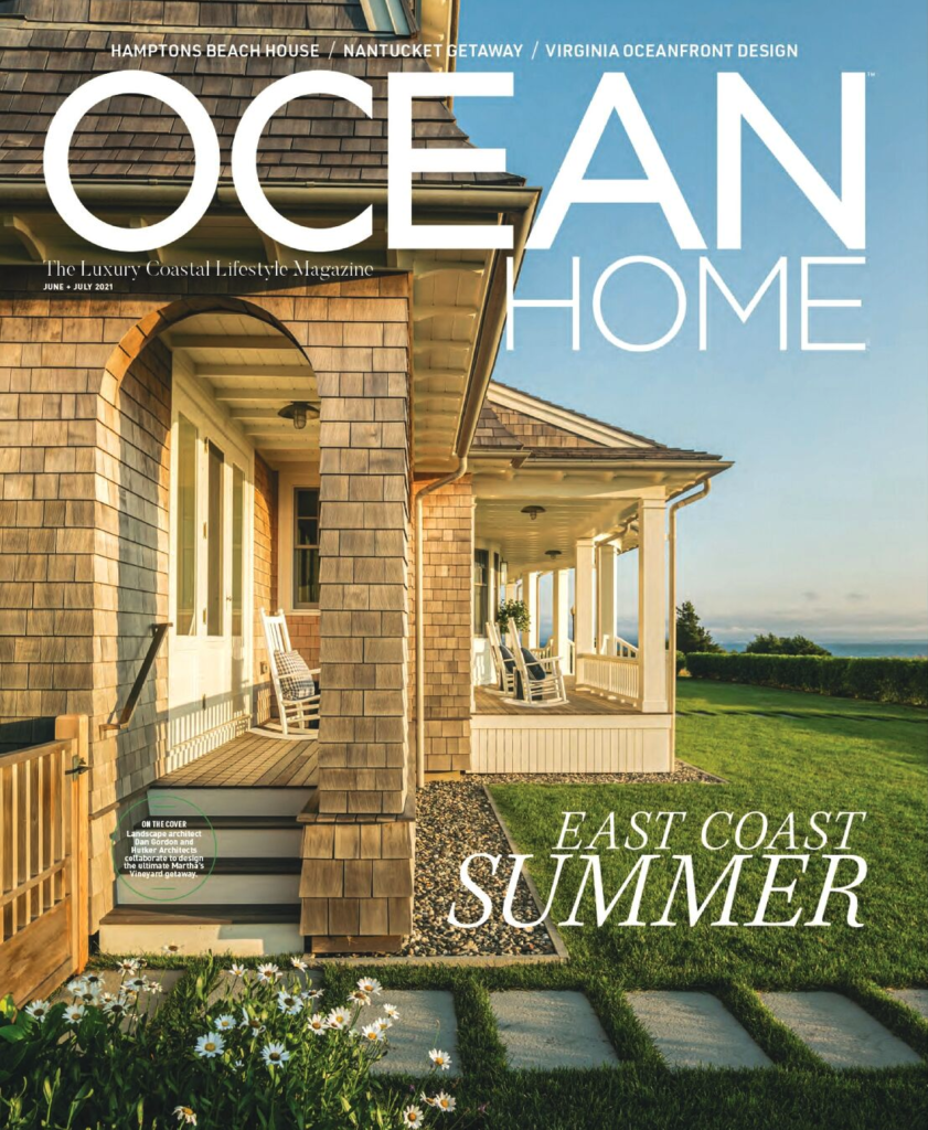 """Ocean Home Magazine Cover June/July 2021 issue featuring """"Big Bluff"""" home built by JG Early"""